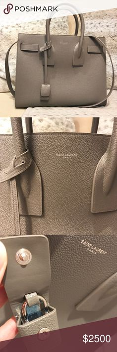 YSL Yves Saint Laurent Small Classic Sac De Jour Authentic YSL Saint Laurent Classic Small Sac De Jour bag in fog grained leather (gray color). Purchased few months ago and worn only like 2-3 times so it's still like in excellent to new condition almost. Comes with detachable interior central zip compartment and shoulder strap. Includes dustbag and actual receipt! This bag cost almost $3000. More pics available and lower offer accepted on other forms of payment only. More Pictures in…