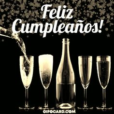 birthday wishes link for whatsapp Happy Birthday Wishes, Birthday Greetings, Spanish Birthday Cards, Birthday Board, Birthday Gifs, Birthday Cakes, Text Messages, Portuguese, Champagne