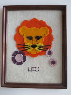 For the little Leo in your life: Vintage Leo Zodiac Astrology Sign: Felt Picture