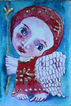 folk art angels painting mini art original  naive primitive Primitives, abstract angel, Original art, Angel Folk art painting, folk angel painting, naive art, primitive painting, folk art by Mariya Chimeva, Sold #FolkArt #Angelpainting
