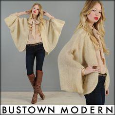 vtg 80s AVANT GARDE knit draped KIMONO batwing sweater cardigan CAPE coat jacket | eBay