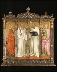 ST. MARY MAGDALENE, ST. BENEDICT, ST. BERNARD OF CLAIRVEAUX AND ST. CATHERINE OF ALEXANDRIA Gaddi, Agnolo | Italian | 1340-1396 creation date about 1380-1390 materials tempera and gold on...