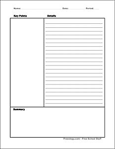 7 Best Cornell Notes Template Images Note Taking School Grades