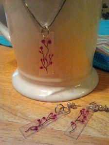 """""""shrinky dink"""" pendant & earrings"""