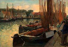 Botters in de haven, Adri Pieck (1894-1982).