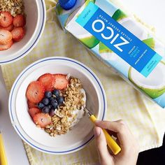 Treat yourself to this delicious DIY breakfast parfait with just four simple ingredients - fresh strawberries and blueberries, coconut granola and our ZICO chilled natural coconut water. Props to our pal @lindseyeats for this homemade treat.