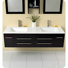 Fresca Bellezza Espresso Double Sunken-sink Bathroom Vanity
