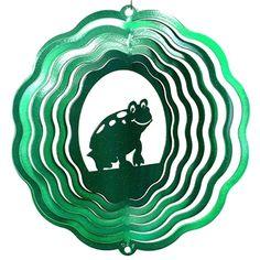 """8"""" Half Pint Frog - Green Starlight Wind Spinner. #green #frog"""