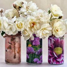 Potes de vidro com decoupagem - *Decoração e Invenção*