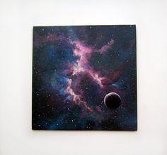 """Peinture originale, art, OOAK, acrylique, espace, bleu noir, lune, galaxie, peinture, contemporaine, acrylique abstrait paysage, toile, 7.9x7.9 """""""