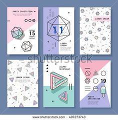 Cards With Geometric Elements Memphis Stock Vector Illustration 407273743 : Shutterstock Bg Design, Media Design, Banner Design, Layout Design, Memphis Design, Graphic Design Posters, Graphic Design Inspiration, Portfolio Design, Conception Memphis