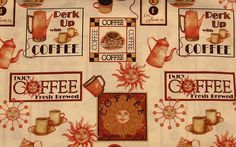 Fresh Brewed by Kathy Hatch Designs 3/4 Yard 100% Cotton by TotallyToteableTotes on Etsy