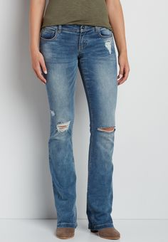 DenimFlex™ flare jeans with destruction (original price, $39.00) available at #Maurices
