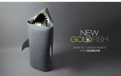 New! SHARK. Felt laundry basket with golden and silver teeth for bathroom or children's room as a basket for toys. © Uczarczyk.