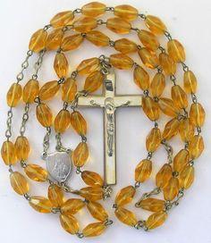 Vtg Amber Glass Bead Rosary Religion Spirituality Christianity Christ Jesus