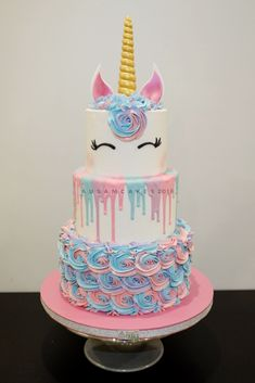 3 Tiers Buttercream Unicorn Cake