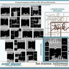 Cindy's Layered Templates - Fun Frames: Halloween by Cindy Schneider Frame Template, Layout Template, Halloween Themes, Fall Halloween, Drop Shadow, Scrapbook Templates, Autumn Theme, Page Layout, Digital Scrapbooking