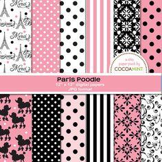 Paris Poodle Digital Papers