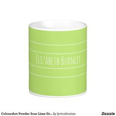Colourshot Powder Sour Lime Green with your name Basic White Mug.  Don't loose your mug or coaster at the office, put your name on it! This simple, stylish mug with its elegant, thin, white stripes can be personalized with your name in a stylish script, and there is a matching coaster.