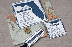Nautical Map Party Invitations, Design + Photo Credits: Tenn Hens Design