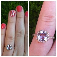 Rose Gold and Pink Amethyst Engagement Ring