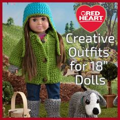 """Fun crochet and knit outfits for 18"""" dolls."""