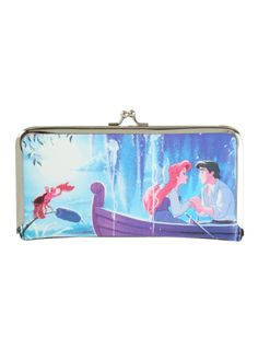 The Little Mermaid kisslock wallet with interior pockets, card slots and clear ID display.