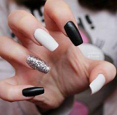 Matte black & white with silver glitter acrylic nails White And Silver Nails, Black And White Nail Designs, Black Nails With Glitter, White Coffin Nails, Glitter Nails, Silver Glitter, Homecoming Nails, Prom Nails, Stylish Nails