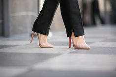 Christian Louboutin Pigalle Heels in Nude
