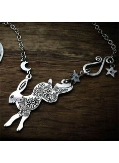 Handcrafted and recycled sterling silver moon leaping hare necklace