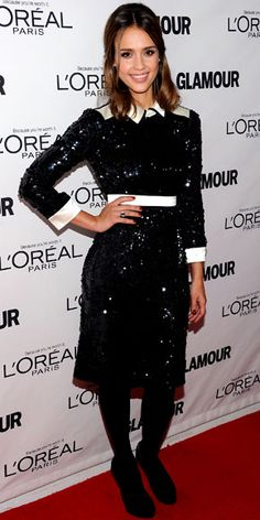 Look of the Day - November 8, 2011 -Jessica Alba WHAT SHE WORE In N.Y.C., Alba paired a sequin Tory Burch dress with a platinum Neil Lane cocktail ring and black Jimmy Choo heels.