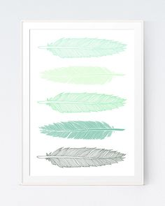 Feathers Print, Mint Green Feathers Wall Art Print, Modern Green Feathers, Mint Green Print, Green and Mint Feather Print, INSTANT DOWNLOAD by SutilDesigns on Etsy https://www.etsy.com/listing/228766074/feathers-print-mint-green-feathers-wall