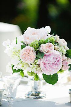 peonies, garden roses and hydrangea