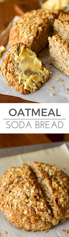 Walnut Oatmeal Soda Bread -- this soda bread recipe is slightly sweet and nutty, with a dense texture that's the perfect pairing for a creamy, slathering of butter. Try it as a meal side or as breakfast with a hot cup of coffee or tea! | via @unsophisticook on unsophisticook.com