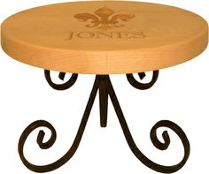 Maple 14 inch Round Server with Scroll Base
