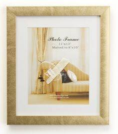 8 x 10 Matted Picture Frame for Tabletop or Wall, White Mat, Plastic - Gold