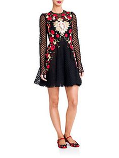 Dolce & Gabbana - Sacred Heart Embroidered Net Dress