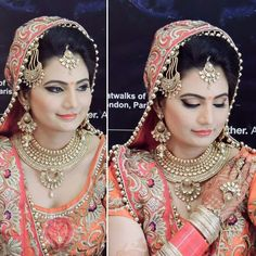 Bridal look~orange lehenga~red choora~jhoomar~earings~necklace~bindi~maang teeka~perfect makeup~perfect look