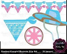 Cowboy Clip Art Cowgirl Clipart Birthday Invitation ClipArt Pink Western Invitation Clipart Cowboy boots Scarf Western Banner kerchiefduct - Please enter name here