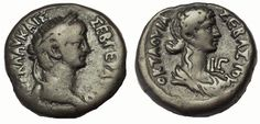 Dated RY 3 (AD Obv: Laureate head of Nero right Rev: Draped bust of Octavia right Copper Coin, Old Coins, Ancient Romans, Roman Empire, Amazing Architecture, Alexandria, Postage Stamps, Egypt, Ads