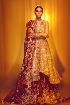 Pakistani Bridal Gown with Lehnga for Wedding in classy look emblazoned with pretty work. Available with Fast Delivery in USA. Pakistani Bridal Dresses Online, Pakistani Bridal Wear, Pakistani Wedding Dresses, Bridal Lehenga, Mehendi Outfits, Bridal Outfits, Bridal Gowns, Bridal Dress Design, Bridal Style