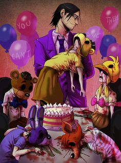FNAF - The Purple Guy and the Dead Children by LadyFiszi.deviantart.com on @DeviantArt