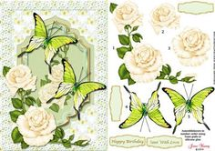 White Roses Butterflies on Craftsuprint designed by June Young - A shaped panel with white roses and large green butterflies on a background of pale butterflies set in a lace frame. There is decoupage for the roses and butterflies and four greetings panels, two are blank for your own lettering. The butterflies can be really 3D if you curl out the wings. This fits an A5 card front and will be suitable for many different occasions.  - Now available for download!