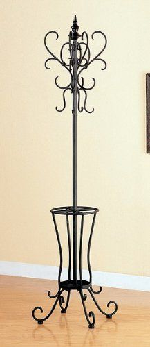 Classic Black Metal Coat Rack Hat Stand w/Umbrella Holder Coat Tree, Wrought Iron Decor, Umbrella Holder, Hat Stands, Iron Furniture, Iron Work, Metal Artwork, Coaster Furniture, Black Metal