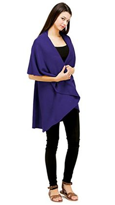 LOOK by M Basic Shawl Vest Violet * More info could be found at the image url.