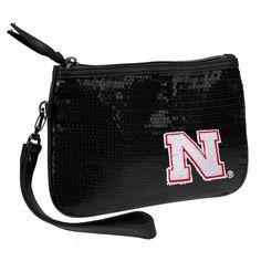 Nebraska Cornhuskers Women's Sequin Stat Wristlet - Black - $19.99