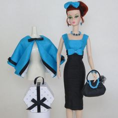 Handmade Vintage Barbie Silkstone Clothes by Roxy Turquoise Black Outfit 10pc | eBay