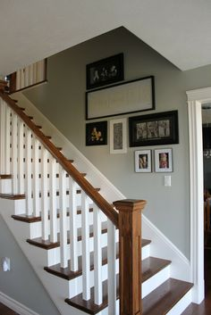 Good idea for stair trim when we finally get to the steps! Good idea for stair trim when we finally get to the steps! Stairs Trim, Stair Banister, White Staircase, Staircase Design, Banisters, Stair Trim Ideas, Railings For Stairs, Wood Staircase, Painted Staircases