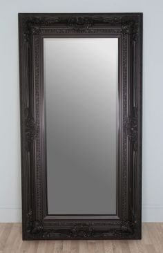 large antique style ornate black rectangular leaner mirror black antique style bedroom