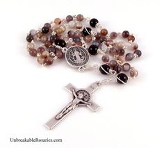 St Benedict Rosary Beads For Men In Botswana Agate and Black Onyx www.UnbreakableRosaries.com